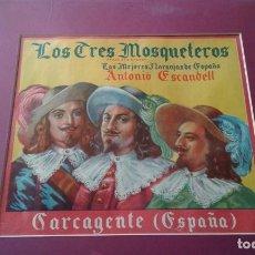 Cine: LOS TRES MOSQUETEROS PEQUEÑO CARTEL DE PUBLICIDAD DE NARANJAS. Lote 204815518