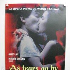 Cinema: AS TEARS GO BY - POSTER CARTEL ORIGINAL - WONG KAR-WAI MAGGIE CHEUNG ANDY LAU WONG GOK KA MOON. Lote 245635820