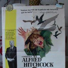 Cine: ORIGINAL SPANISH POSTER THE BIRDS LOS PAJAROS ALFRED HITCHCOCK TIPPI HEDREN 1963. Lote 205069262