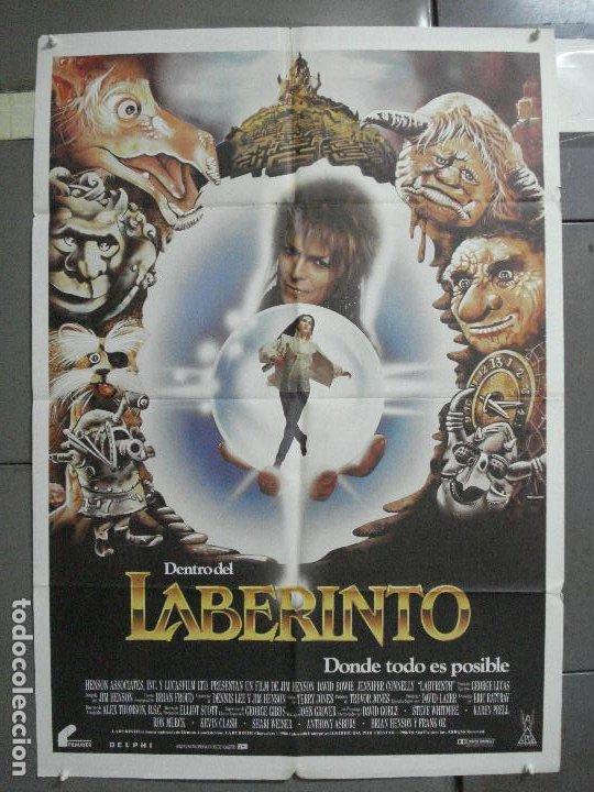 AAI84 DENTRO DEL LABERINTO DAVID BOWIE JIM HENSON GEORGE LUCAS POSTER ORIGINAL 70X100 ESTRENO (Cine - Posters y Carteles - Ciencia Ficción)