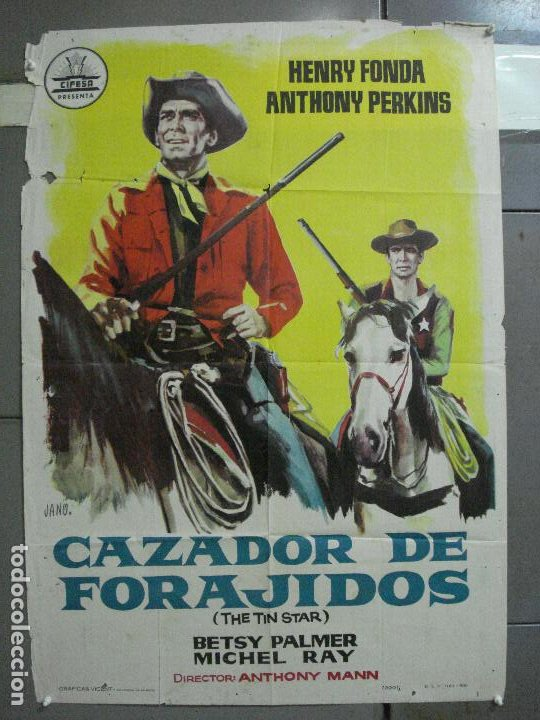 AAJ18 CAZADOR DE FORAJIDOS ANTHONY MANN HENRY FONDA ANTHONY PERKINS POSTER ORIGINAL 70X100 ESTRENO (Cine - Posters y Carteles - Westerns)