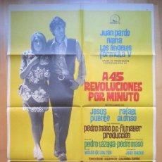 Cinéma: CARTEL CINE, A 45 REVOLUCIONES POR MINUTO, JUAN PARDO, IVANA, FORMULA V, 1969, C947. Lote 205141653