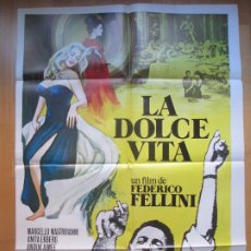 Cine: CARTEL CINE, LA DOLCE VITA, MARCELLO MASTROIANNI, ANITA EKBERG, C1389. Lote 205142986