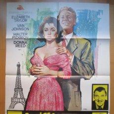 Cine: CARTEL CINE, LA ULTIMA VEZ QUE VI PARIS, ELIZABETH TAYLOR, VAN JOHNSON, JANO, 1973, C300. Lote 205143736