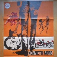 Cine: CARTEL CINE, RAFAGAS DE VIOLENCIA, KENNETH MORE, RAY BROOKS, 1965, JANO, C662. Lote 205158081