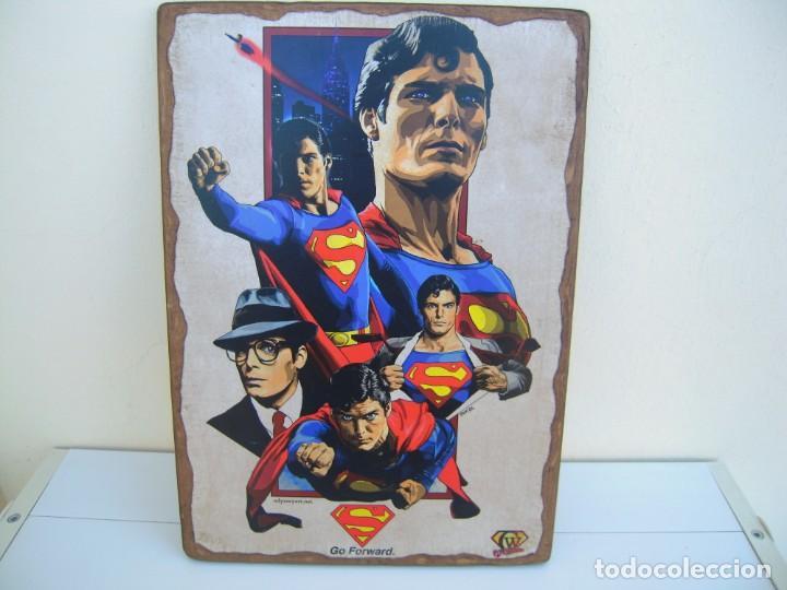 CUADRO POSTER PEGADO A MADERA SUPERMAN (Cine - Posters y Carteles - Ciencia Ficción)