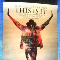 Cine: CARTEL POSTER DE LA PELICULA - MICHAEL JACKSON 'S THIS IS IT - CINE MUSICAL. Lote 205471556