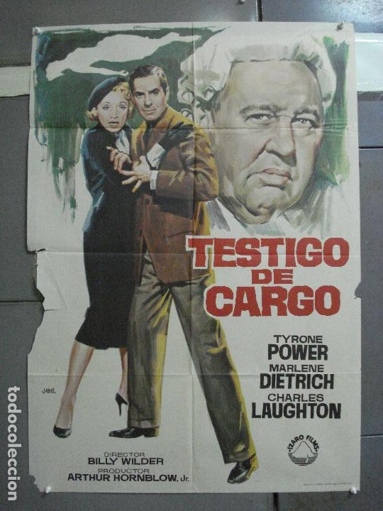 CDO 2566 TESTIGO DE CARGO TYRONE POWER MARLENE DIETRICH AGATHA CHRISTIE POSTER ORIGINAL 70X100 (Cine - Posters y Carteles - Suspense)