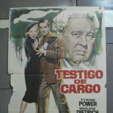 Cine: CDO 2566 TESTIGO DE CARGO TYRONE POWER MARLENE DIETRICH AGATHA CHRISTIE POSTER ORIGINAL 70X100. Lote 205683535