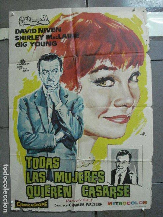 CDO 2588 TODAS LAS MUJERES QUIEREN CASARSE SHIRLEY MACLAINE DAVID NIVEN POSTER ORIG 70X100 ESTRENO (Cine - Posters y Carteles - Comedia)