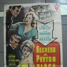 Cine: CDO 2637 REGRESO A PEYTON PLACE JEFF CHANDLER CAROL LYNLEY POSTER ORIGINAL 70X100 ESTRENO. Lote 205705025
