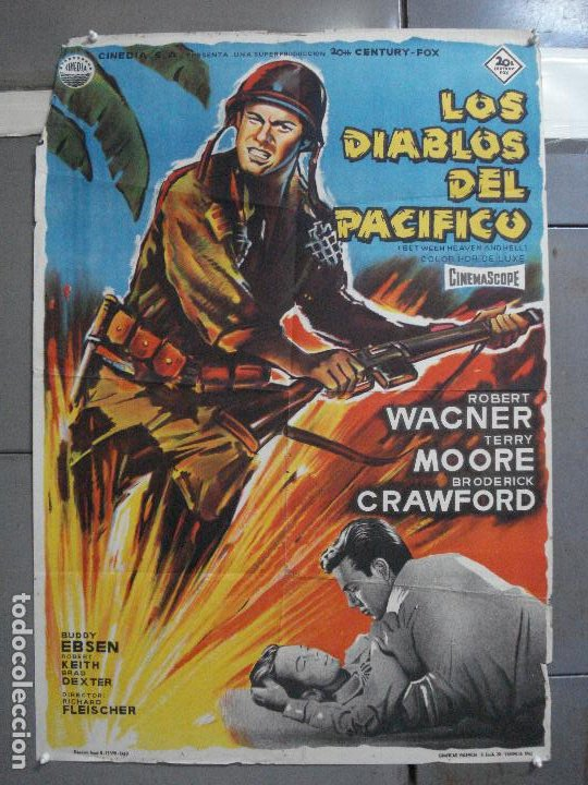 CDO 2643 LOS DIABLOS DEL PACIFICO ROBERT WAGNER POSTER ORIGINAL 70X100 ESTRENO LITOGRAFIA (Cine - Posters y Carteles - Bélicas)