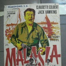Cine: CDO 2645 MALASIA JACK HAWKINS CLAUDETTE COLBERT JANO POSTER ORIGINAL 70X100 ESTRENO LITOGRAFIA. Lote 205707658
