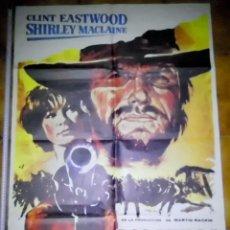 Cine: POSTER ORIGINAL PELICULA DOS MULAS Y UNA MUJER, CLINT EASTWOOD Y SHIRLEY MACLAINE, 1970. Lote 205729655
