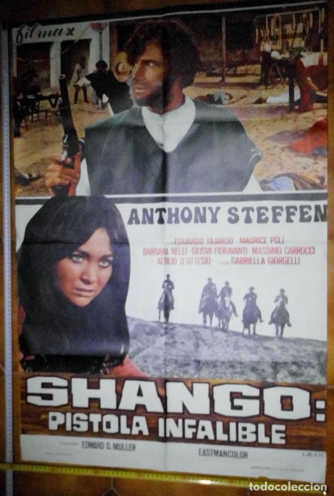 POSTER ORIGINAL PELICULA DOS SHANGO PISTOLA INFALIBLE, ANTHONY STEFFEN (Cine - Posters y Carteles - Acción)
