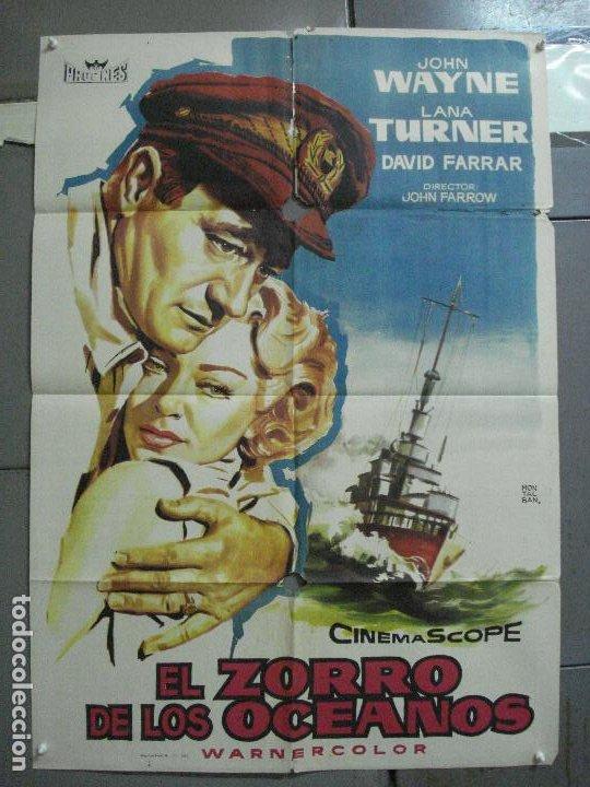 AAJ70 EL ZORRO DE LOS OCEANOS JOHN WAYNE LANA TURNER MONTALBAN POSTER ORIGINAL 70X100 ESTRENO (Cine - Posters y Carteles - Aventura)