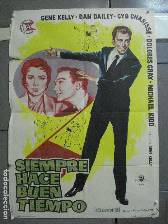 AAJ82 SIEMPRE HACE BUEN TIEMPO GENE KELLY CYD CHARISSE DONEN JANO POSTER ORIGINAL ESTRENO 70X100 (Cine - Posters y Carteles - Musicales)