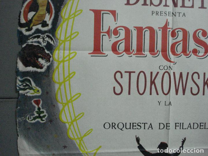 Cine: CDO 2775 FANTASIA WALT DISNEY MICKEY MOUSE STOKOWSKI POSTER ORIGINAL 70X100 ESPAÑOL R-68 - Foto 4 - 205819866