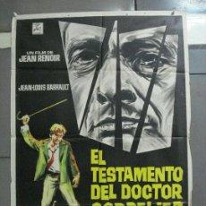 Cine: CDO 2790 EL TESTAMENTO DEL DOCTOR CORDELIER JEAN RENOIR POSTER ORIGINAL 70X100 ESTRENO. Lote 205828377