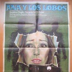 Cine: CARTEL + 12 FOTOCROMOS ANA Y LOS LOBOS GERALDINE CHAPLIN MAC 1973 CCF19. Lote 206330388