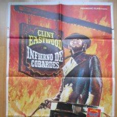 Cine: CARTEL + 12 FOTOCROMOS INFIERNO DE COBARDES CLINT EASTWOOD MAC 1973 CCF20. Lote 206331877