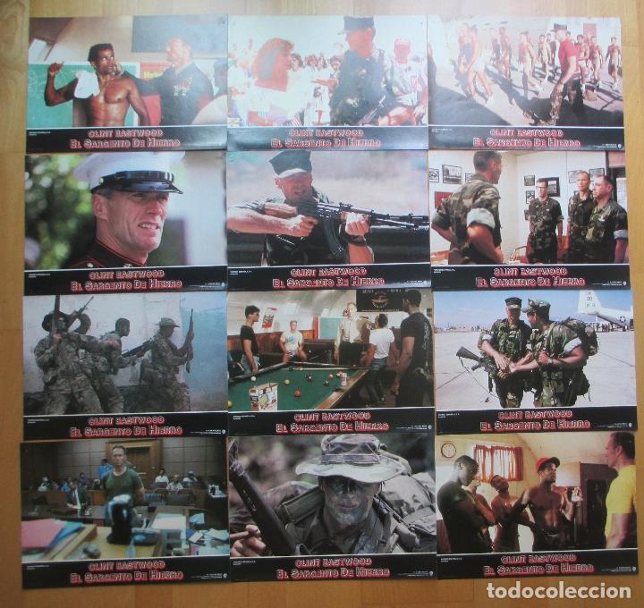 Cine: CARTEL + 12 FOTOCROMOS EL SARGENTO DE HIERRO CLINT EASTWOOD 1987 CCF26 - Foto 3 - 206334988