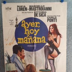 Cine: AYER, HOY Y MAÑANA. SOPHIA LOREN, MARCELLO MASTROIANNI AÑO 1975. POSTER ORIGINAL. Lote 207118533