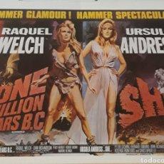 Cine: LAMINA CARTEL DE CINE ONE MILLION YEARS B.C Y SHE 1966 - 1965. Lote 207204461