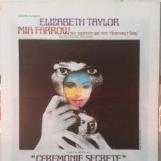 Cine: LAMINA CARTEL DE CINE CEREMONIE SECRETE JOSEPH JOSEY 1968. Lote 207208156