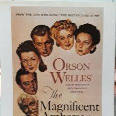 Cine: LAMINA CARTEL DE CINE THE MAGNÍFICENS AMBERSONS ORSON WELLES 1942. Lote 207253230