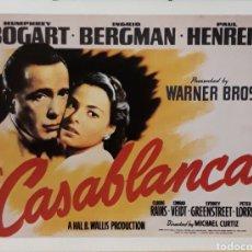Cine: LAMINA CARTEL DE CINE CASABLANCA MICHAEL CURTIZ 1943. Lote 207253408