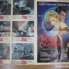 Cine: LA NOCHE DEL CAZADOR - POSTER CARTEL ORIGINAL + 6 FOTOCROMOS ORIGINALES THE NIGHT OF THE HUNTER. Lote 207274080