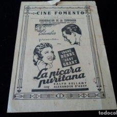Cine: PROGRAMA LA PICARA PURITANA CINE FOMENTO SAN JUAN DESPI 1941 IMPRIME MARFANY SAN. FELIU DE LLOBREGAT. Lote 207601066
