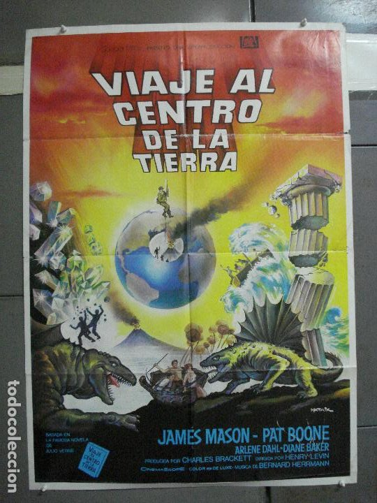 CDO 2945 VIAJE AL CENTRO DE LA TIERRA JAMES MASON JULIO VERNE MATAIX POSTER ORG 70X100 ESPAÑOL R-80S (Cine - Posters y Carteles - Ciencia Ficción)