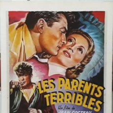 Cine: LAMINA CARTEL DE CINE LES PARENTS TERRIBLES JEAN COCTEAU 1948. Lote 208017055