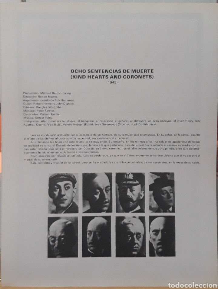 Cine: Lamina cartel de cine ocho sentencias de muerte robert hamer 1949 - Foto 2 - 208116677
