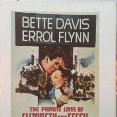 Cine: LAMINA CARTEL DE CINE THE PRIVATE LIFES OF ELIZABETH AND ASSEX ERROL FLYNN 1939. Lote 208290932