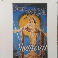 Cine: LÁMINA CARTEL DE CINE INDISCRETA GLORIA SWANSON 1931. Lote 208330125
