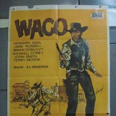 Cine: CDO 3161 WACO HOWARD KEEL JANE RUSSELL LEAF POSTER ORIGINAL ESTRENO 70X100. Lote 208391370