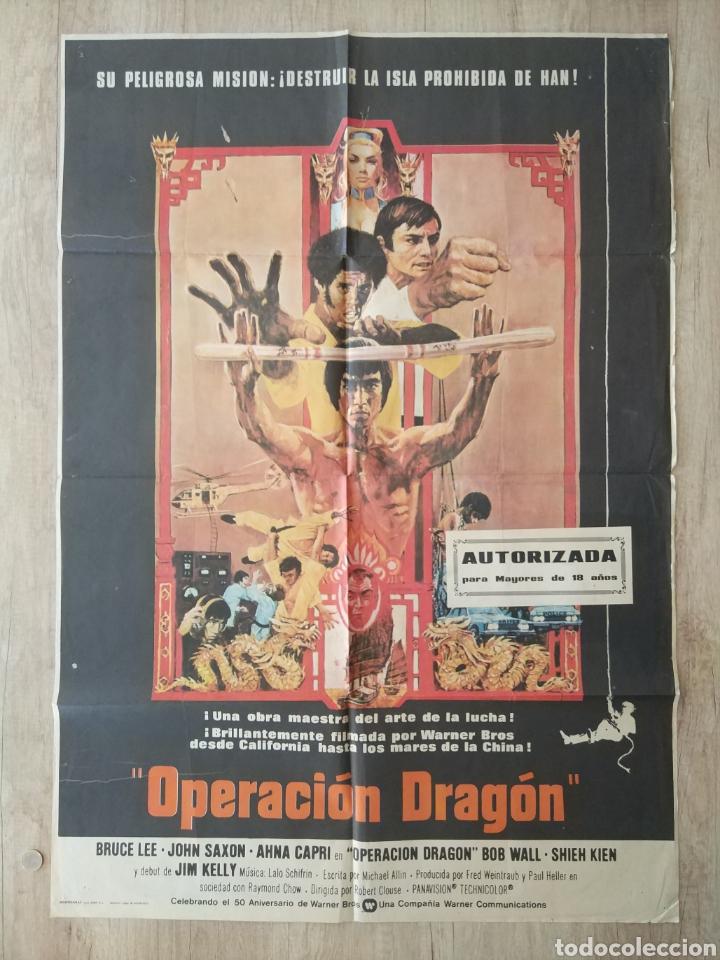 CARTEL ESTRENO CINES EN ESPAÑA PELÍCULA OPERACION DRAGON (BRUCE LEE) AÑO: 1973 (Cine - Posters y Carteles - Acción)