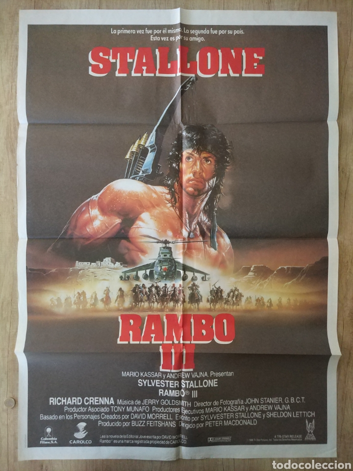 CARTEL ESTRENO CINES EN ESPAÑA PELÍCULA RAMBO 3 (SYLVESTER STALLONE) AÑO: 1988 (Cine - Posters y Carteles - Acción)