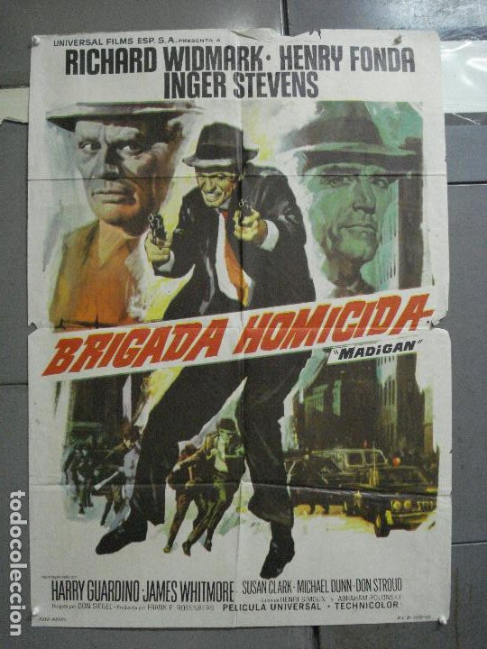 CDO 3223 BRIGADA HOMICIDA RICHARD WIDMARK HENRY FONDA POSTER ORIGINAL 70X100 ESTRENO (Cine - Posters y Carteles - Acción)