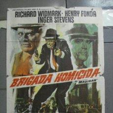 Cine: CDO 3223 BRIGADA HOMICIDA RICHARD WIDMARK HENRY FONDA POSTER ORIGINAL 70X100 ESTRENO. Lote 208490286
