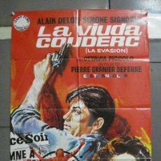 Cine: CDO 3280 LA VIUDA COUDERC ALAIN DELON SIMONE SIGNORET GEORGES SIMENON POSTER ORIGINAL 70X100 ESTRENO. Lote 208763415