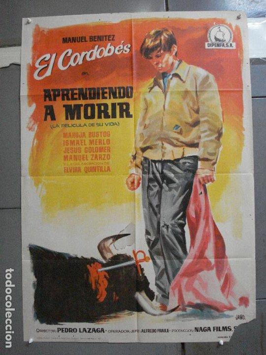 CDO 3360 APRENDIENDO A MORIR MANUEL BENITEZ EL CORDOBES LAZAGA TOROS POSTER ORIGINAL 70X100 ESTRENO (Cine - Posters y Carteles - Clasico Español)