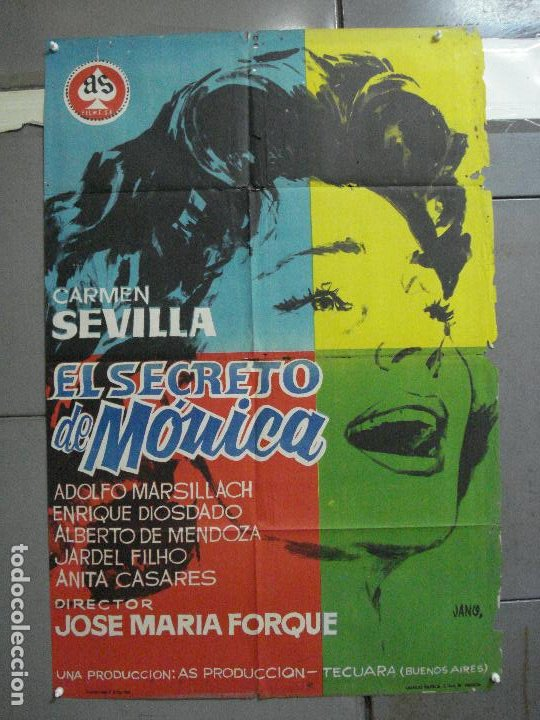 CDO 3391 EL SECRETO DE MONICA CARMEN SEVILLA POSTER ORIGINAL 70X100 ESTRENO (Cine - Posters y Carteles - Clasico Español)
