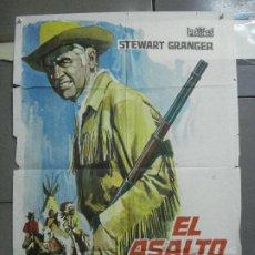Cinema: CDO 3421 EL ASALTO DE LOS APACHES KARL MAY PIERRE BRICE STEWART GRANGER POSTER ORIG 70X100 ESTRENO. Lote 209218540