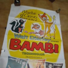 Cine: BAMBI AFICHE DE CINE ORIGINAL DÉCADA DEL 70 ARGENTINA -. Lote 209919122