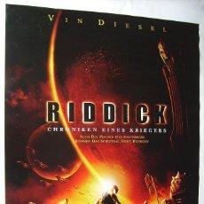Cine: RIDDICK, CON VIN DIESEL POSTER ALEMAN 84 X 119 CMS. 2004.. Lote 209956846