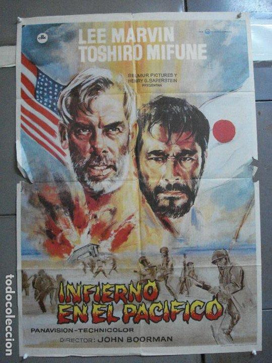 CDO 3556 INFIERNO EN EL PACIFICO LEE MARVIN TOSHIRO MIFUNE POSTER ORIGINAL 70X100 ESTRENO (Cine - Posters y Carteles - Bélicas)